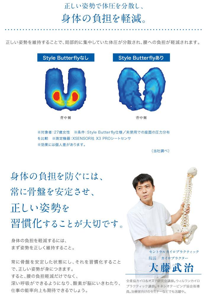 正しい姿勢で体圧を分散し、身体の負担を軽減。